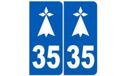 Sticker / autocollant : numéro immatriculation 35 hermine (Ille-et-Vilaine)