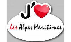 Sticker / autocollant : j'aime les Alpes-Maritimes
