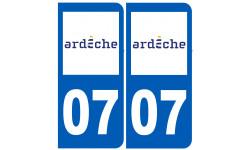 Sticker / autocollant : numéro immatriculation 07 (Ardèche)