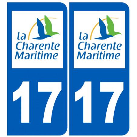 Sticker / autocollant : numéro immatriculation 17 (Charente-Maritime)