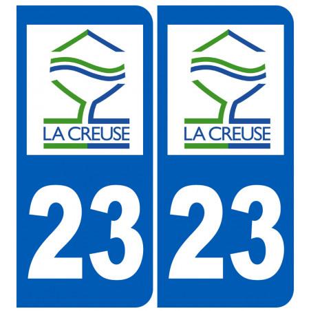 Sticker / autocollant : numéro immatriculation 23 Creuse