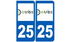 Sticker / autocollant : numéro immatriculation 25 (Doubs)