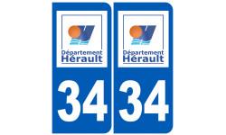 Sticker / autocollant : numéro immatriculation 34 (Hérault)