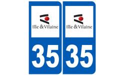 Sticker / autocollant : numéro immatriculation 35 (Ille-et-Vilaine)