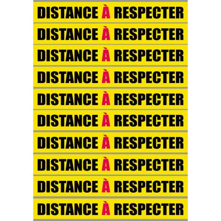 Sticker / autocollant : distance à respecter - 10 unités - 20x2.5cm