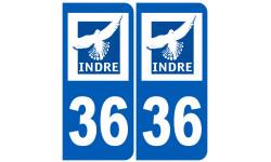 Sticker / autocollant : numéro immatriculation 36 (Indre)