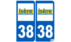 Sticker / autocollant : numéro immatriculation 38 (Isère)