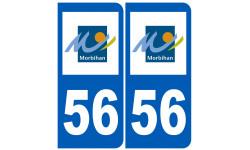 Sticker / autocollant : numéro immatriculation 56 (Morbihan)