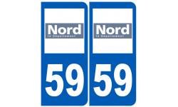 Sticker / autocollant : numéro immatriculation 59 (Nord)