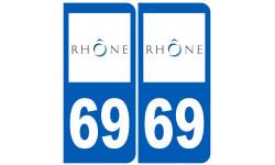 Sticker / autocollant : numéro immatriculation 69 (Rhône)