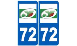 Sticker / autocollant : numéro immatriculation 72 (Sarthe)