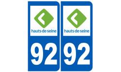 Sticker / autocollant : numéro immatriculation 92 (Hauts-de-Seine)