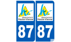 Sticker / autocollant : numéro immatriculation 87 (Haute-Vienne)
