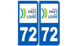 Sticker / autocollant : numéro immatriculation 72 (région)