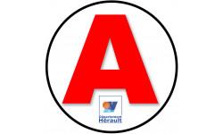 Sticker / autocollant : A 01 Ain - 15cm L'Hérault