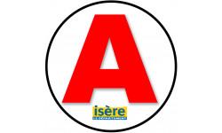 Sticker / autocollant : A 38 L'Isère - 15cm