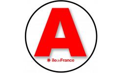 Sticker / autocollant : A 75 L'Ile de France - 15cm
