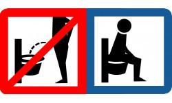 Sticker / autocollant : s'assoir pour faire pipi - 15x7,5cm