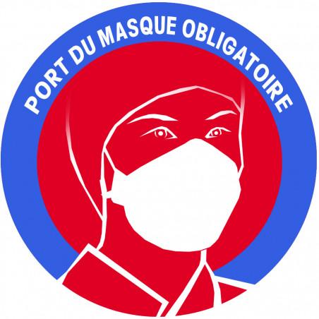 Sticker / autocollant : Port du masque respiratoire obligatoire (20cm)