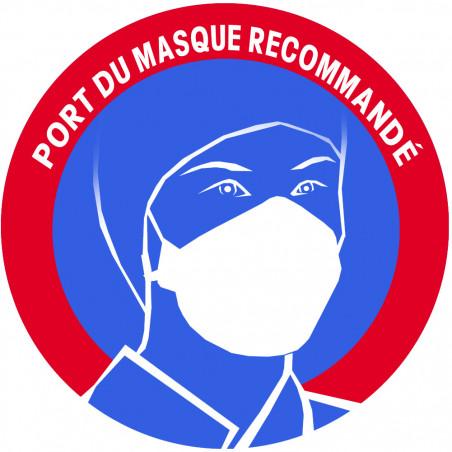 Sticker / autocollant : Port du masque respiratoire recommandé (5cm)
