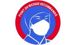 Sticker / autocollant : Port du masque respiratoire recommandé - 15cm