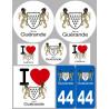 Sticker / autocollant : Département 44 Guérande - 8 autocollants variés