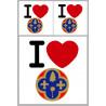 """Sticker / autocollant : Département Les Alpes Maritimes (06) - 3 autocollants """"J'aime"""""""