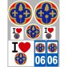 Sticker / autocollant : Département 06 Les Alpes Maritimes - 8 autocollants variés