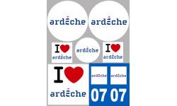 Sticker / autocollant : Département 07 L'Ardèche - 8 autocollants variés