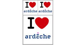 """Sticker / autocollant : Département l'Ardèche (07) - 3 autocollants """"J'aime"""""""