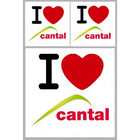 """Sticker / autocollant : Département Cantal (15) - 3 autocollants """"J'aime"""""""