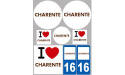 Sticker / autocollant : Département 16 La Charente - 8 autocollants variés