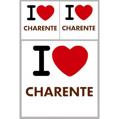 """Sticker / autocollant : Département La Charente (16) - 3 autocollants """"J'aime"""""""
