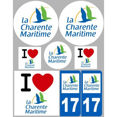 Sticker / autocollant : Département 17 La Charente Maritime - 8 autocollants variés