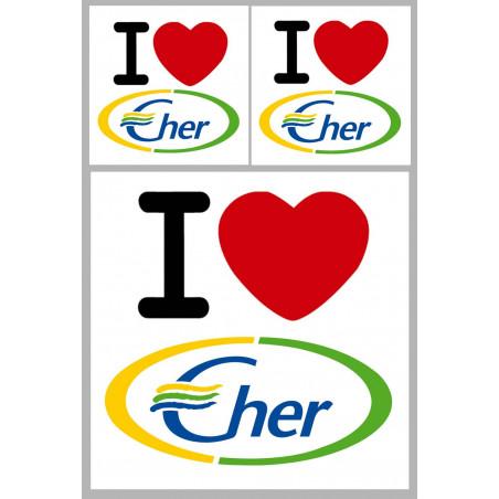 """Sticker / autocollant : Département Le Cher (18) - 3 autocollants """"J'aime"""""""
