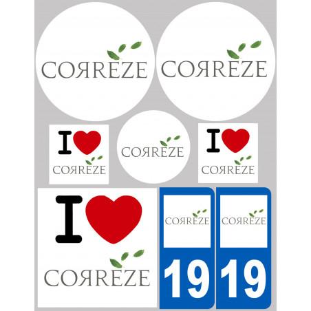 Sticker / autocollant : Département 19 La Corrèze - 8 autocollants variés