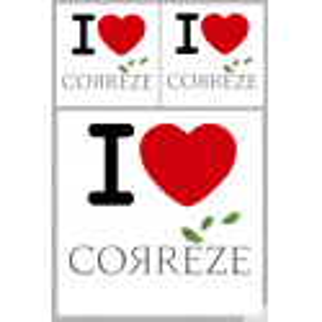 """Sticker / autocollant : Département La Corrèze (19) - 3 autocollants """"J'aime"""""""