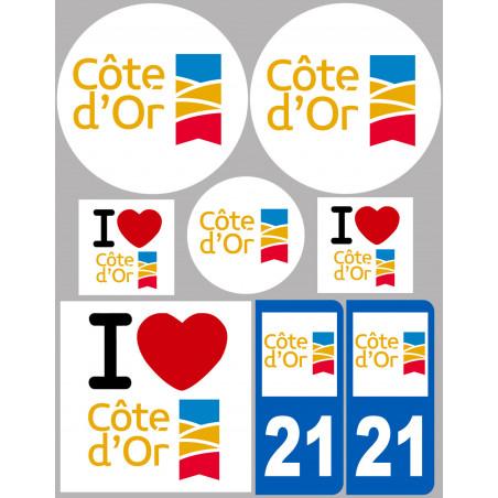 Sticker / autocollant : Département 21 La Côte d'Or - 8 autocollants variés