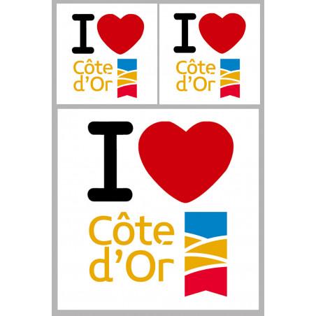 """Sticker / autocollant : Département La Côte d'Or (21) - 3 autocollants """"J'aime"""""""