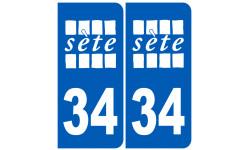 Sticker / autocollant : ville de Sète immatriculation 34 blanc