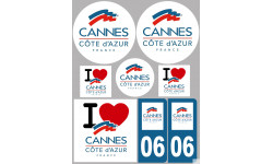 Sticker / autocollant : Département Ville de Cannes - 8 autocollants variés