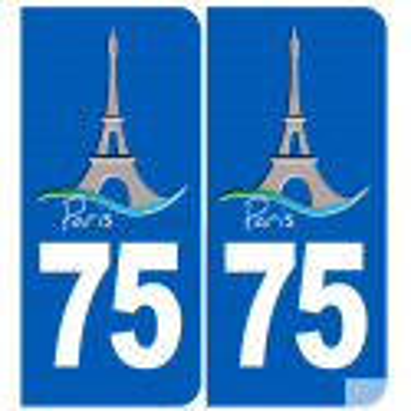 Sticker / autocollant : immatriculation 75 Tour Eiffel