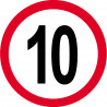 Sticker /autocollant : Disque de limitation de vitesse 10km/h rouge - 10cm