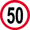 Sticker /autocollant : Disque de limitation de vitesse 50km/h rouge - 10cm