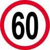 Sticker /autocollant : Disque de limitation de vitesse 60km/h rouge - 15cm