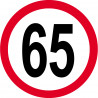 Sticker /autocollant : Disque de limitation de vitesse 65km/h rouge - 15cm