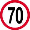 Sticker /autocollant : Disque de limitation de vitesse 70km/h rouge - 15cm