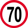 Sticker /autocollant : Disque de limitation de vitesse 70km/h rouge - 20cm