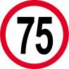 Sticker /autocollant : Disque de limitation de vitesse 75km/h rouge - 15cm