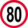 Sticker /autocollant : Disque de limitation de vitesse 80km/h rouge - 15cm